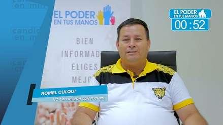 Elecciones 2018: Romel Culqui expuso sus propuestas en seguridad ciudadana, obras y gestión de desperdicios