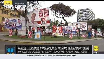 Magdalena: paneles electorales invaden cruce de avenidas Javier Prado y Brasil