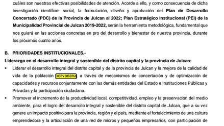 Candidato de Julcán acepta error de digitación en plan de gobierno