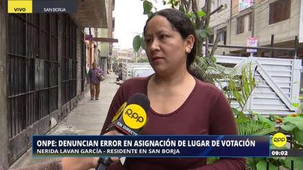 Una mujer ha vivido 17 años en San Borja pero la ONPE ubicó su mesa de sufragio en Chiclayo