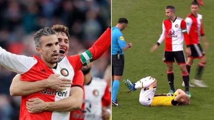 Robin Van Persie: marcó un golazo y fue expulsado en tres minutos