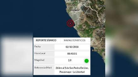 Sismo de 3.9 grados de magnitud en La Libertad