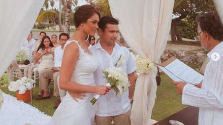 Karen Schwarz y Ezio Oliva cumplieron su tercer año de casados y así lo celebraron