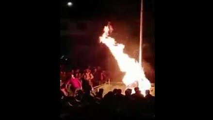 Hombre quemado vivo acusado de robar en Cusco: