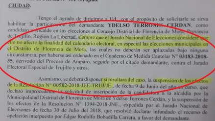 Ordenan al JEET permitir que Ydelso Terrones participe en elecciones