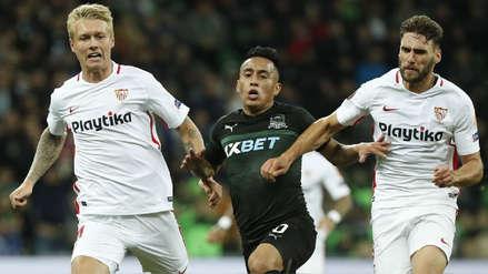 Krasnodar de Christian Cueva sorprendió a Sevilla y ganó 2-1 en la Europa League
