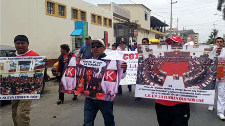 Chiclayo: sindicatos afiliados a la CGTP se movilizan contra decretos legislativos