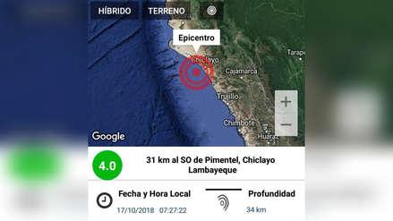 Chiclayo: sismo de 4 grados tuvo epicentro en balneario de Pimentel