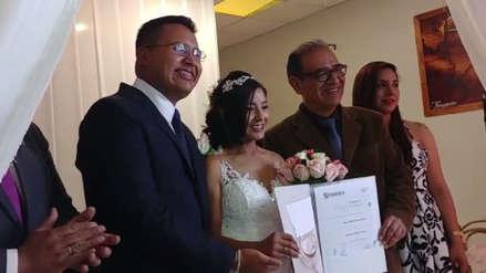 Inés Melchor contrajo matrimonio civil en Huancayo [VIDEOS]