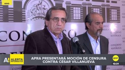 APRA anuncia que presentará una moción de censura contra César Villanueva
