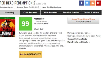 Medios especializados califican a Red Dead Redemption 2 como una obra maestra