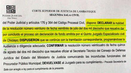 Declaran nula Resolución que concluyó proceso por La Videnita