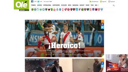 ¡Hazaña de River Plate!, así reaccionó la prensa argentina tras clasificación de 'Millo' a la final de la Libertadores