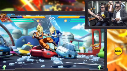 Mario Castañeda y René García juegan Dragon Ball FighterZ como Gokú y Vegeta