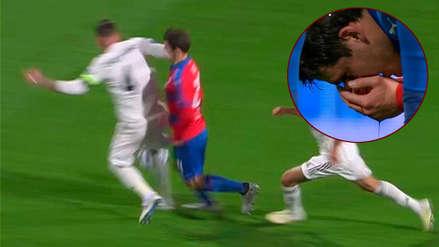 Sergio Ramos y el desleal codazo que dejó ensangrentado a un jugador del Viktoria Pilsen