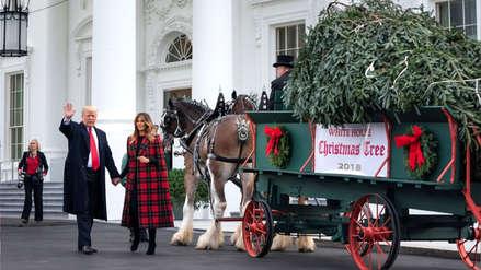 Donald Trump recibió por primera vez el árbol de Navidad de la Casa Blanca