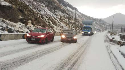 Fuerte nevada genera restricción del tránsito en la Carretera Central