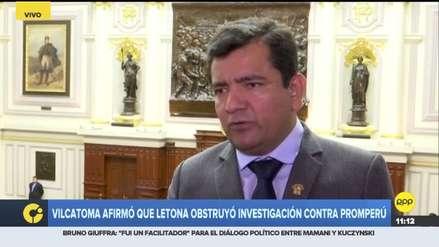 Presidente de la comisión de Fiscalización negó que Letona haya interferido en la investigación a Promperú