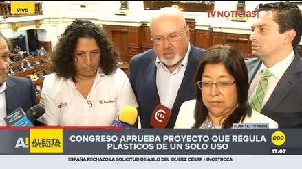 Congresistas saludaron aprobación de norma que regula  plásticos de un solo uso