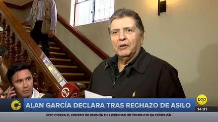 Alan García dijo que el asilo no tuvo éxito por