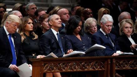 Trump saludó a Obama, pero no a Hillary Clinton, en el funeral de Bush