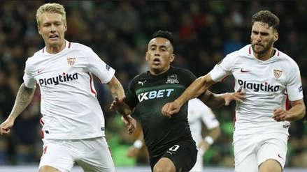 Krasnodar con Christian Cueva cayó 3-0 ante Sevilla pero pasó a los dieciseisavos de Europa League