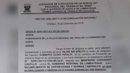 Primer Juzgado Laboral dejó sin efecto detención de gobernador Humberto Acuña