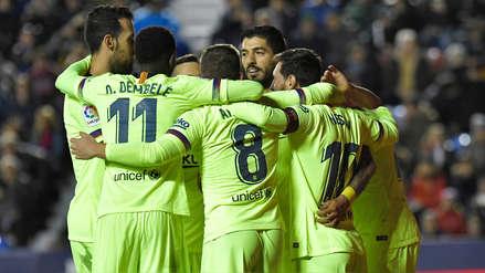 Barcelona goleó a Levante y sigue como único líder de la Liga de España