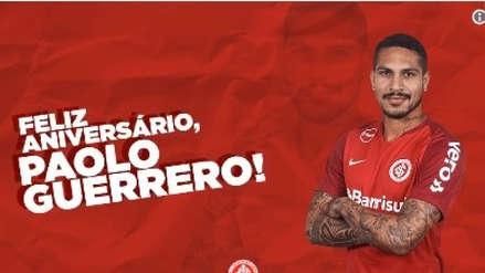 Paolo Guerrero recibió saludo de Inter de Porto Alegre por su cumpleaños