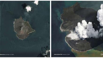 Imágenes satelitales muestran el derrumbe del volcán que provocó un tsunami en Indonesia [FOTOS]