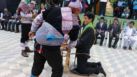 Huancavelica | Alcalde de Yauli recibió azotes de advertencia al jurar al cargo