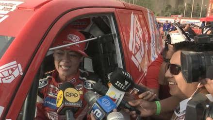 Dakar 2019 |  Fernanda Kanno se emocionó en el podio de partida simbólica en la Costa Verde