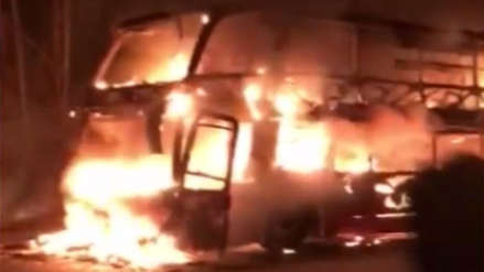 Lima | Un bus interprovincial se incendió en la Carretera Central [VIDEO]