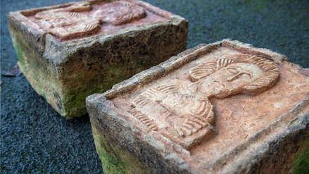 Dos piedras esculpidas hace 1,000 años fueron halladas en un jardín inglés