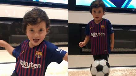 Lionel Messi le heredó la puntería a su hijo y este video viral lo demuestra