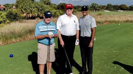 Donald Trump jugó al golf con las leyendas Jack Nicklaus y Tiger Woods