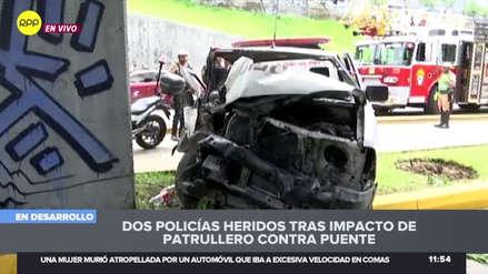Metropolitano | Patrullero chocó contra puente en Vía Expresa: dos policías resultaron heridos