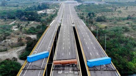 Militares venezolanos bloquean vía por donde se espera llegada de ayuda humanitaria