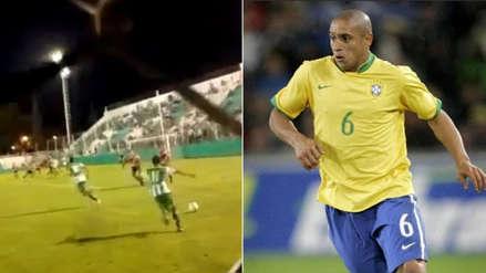 Ex jugador de Boca Juniors anotó un golazo de tiro libre al estilo Roberto Carlos