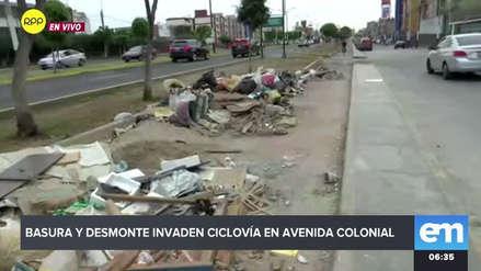 Gran cantidad de basura y desmonte invade la ciclovía de la avenida Colonial en el Callao