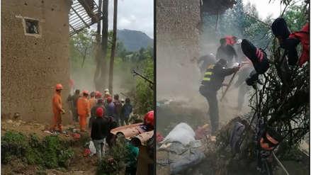 Dos niños mueren sepultados tras derrumbe de casa por intensas lluvias en Huamachuco