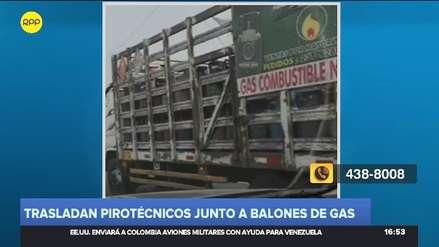Camión trasladaba artefactos pirotécnicos y balones de gas por la Panamericana Sur