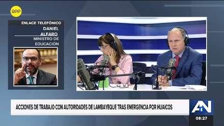 Ministro Alfaro: Los 250 colegios afectados por lluvias estarán listos para el inicio del año escolar