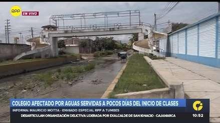 Aguas servidas se empozan al lado del colegio Inmaculada Concepción en Tumbes [VIDEO]