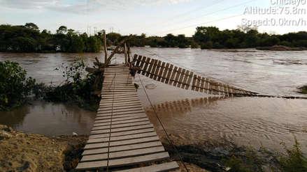 Río Zaña arrasó con dos puentes y dejó aislados a tres centros poblados y caseríos