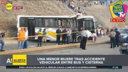 Una menor muerta y 27 heridos deja choque de bus con cisterna en Ventanilla