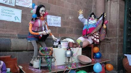 Cusqueños celebraron el día de las comadres con muñecos y comida tradicional