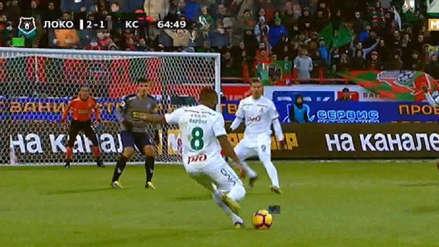La asistencia de Jefferson Farfán en el empate del Lokomotiv ante Krylya Sovetov