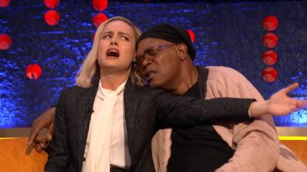 """Brie Larson y Samuel L. Jackson imitan a Cooper y Gaga e interpretan una singular versión de """"Shallow"""""""
