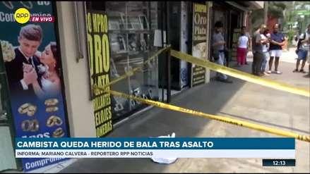 Delincuentes asaltaron y dispararon a un cambista en Miraflores